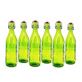 Modern Home 1L/34oz Culaccino Swing Top Round Glass Bottle - Textured Squares Lime Green - Set of 6