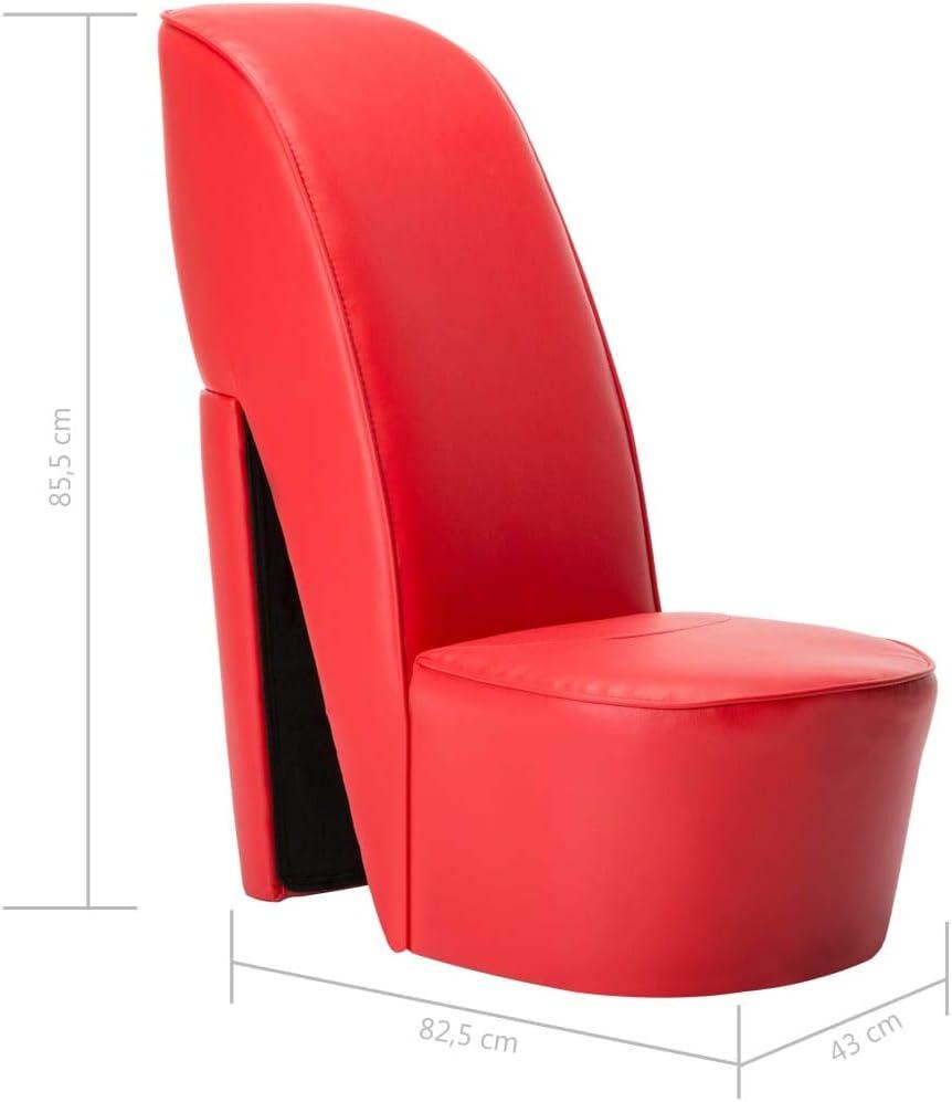 Festnight Poltrona Design Moderna a Forma di Scarpa con Tacco in Velluto Rosso,Poltrona in Velluto Rosso,Poltrona in Ecopelle Rossa,Poltrona Soggiorno in Pelle Artificiale 43 x 82,5 x 85,5 cm