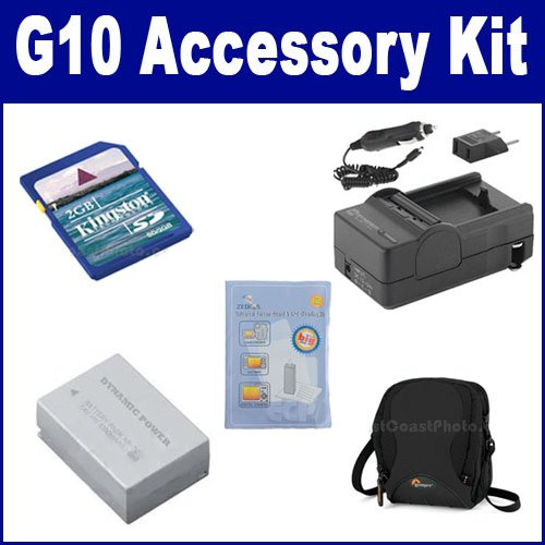 Canon Powershot G10 Digital Camera Accessory Kit includes: SDNB7L Battery, SDM-198 Charger, SDC-26 Case, KSD2GB Memory Card, ZELCKSG Care & Cleaning