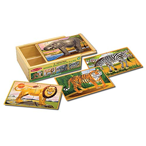 Melissa & Doug Wild Animals Jigsaw Puzzles in a Box (Four Wooden Puzzles, Beautiful Artwork, Sturdy Wooden Storage Box, 48 Pieces, Great Gift for Girls and Boys - Best for 3, 4, 5, and 6 Year Olds) (12 Piece Wooden Puzzle)