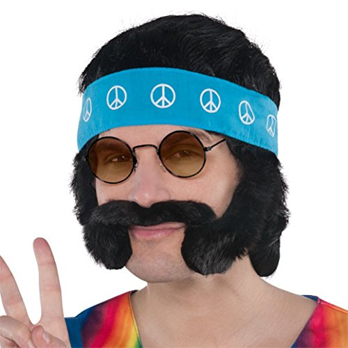 Groovin '60s Costume Party Hippie Costume Kit, Black, Synthetic Fiber, 4-Piece (60s Party Costumes)