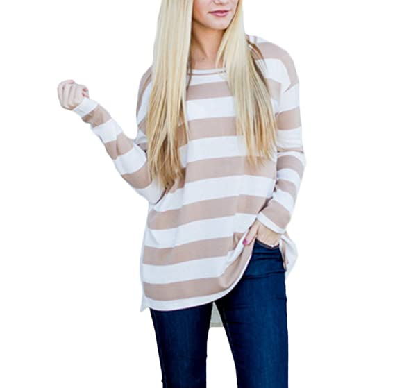 Targogo Camisetas Mujer Elegante Tops Rayas Tallas Grandes Primavera Otoño Cuello Redondo Manga Larga T Shirt Casual Ancho Blusas Ropa EN Oferta Moda 2018: ...