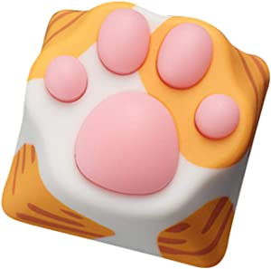 wwkeycaps Special Edition Gaming Keycaps Cherry MX keycaps Machinery Keyboard keycaps Cat's paw Shape is Suitable Mechanical Keyboard (Orange/Pink)