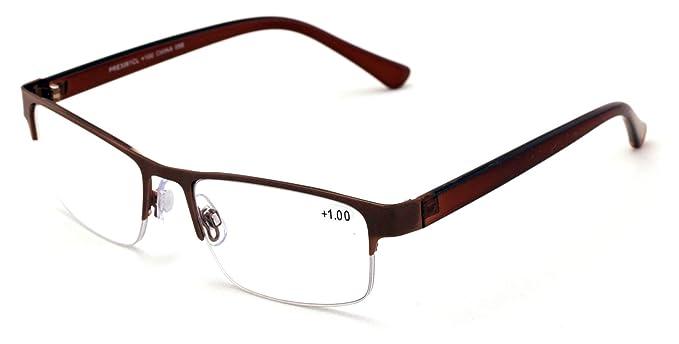 Amazon.com: Gafas de lectura rectangulares de metal con ...
