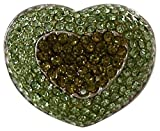 HEART RING-PAVE GREEN CRYSTAL & STERLING SILVER PLATE. -SIZE-9