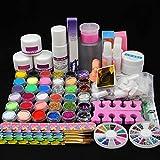 Fashion Zone Acrylic Nail Art Kit with Acrylic Powder, Acrylic Liquid,Glitter Nail Rhinestones Decoration Manicure Nail Art Design Kit