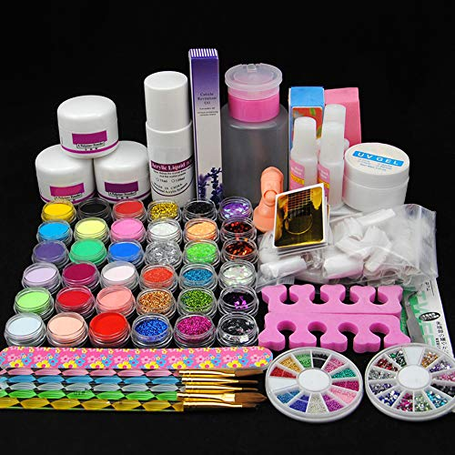 Fashion Zone Acrylic Nail Art Kit with Acrylic Powder, Acrylic Liquid,Glitter Nail Rhinestones Decoration Manicure Nail Art Design Kit