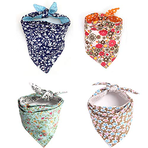 Combofix 4 Pack Cute Dog Bandana Multi Coloured Scarves Accessories for Pet Cats and ()