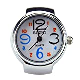 Fashion Arabic Numbers Quartz Finger Ring Watch with Gift Box (Black)