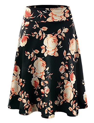 Doublju Elastic High Waist A-Line Flared Midi Skirt For Women With Plus Size (Made In USA) BLACKRUST X-Large (Knee Length Pleats Skirt)