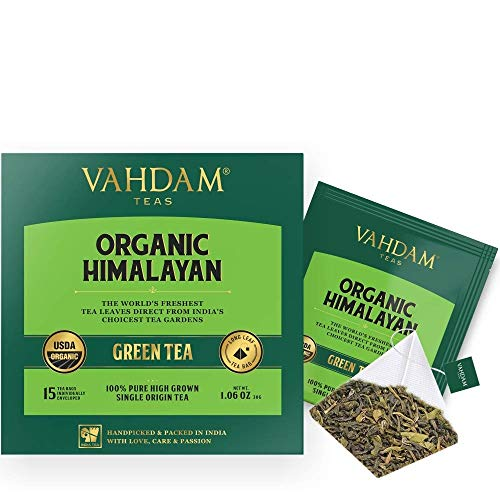 VAHDAM, Organic Green Tea Leaves from Himalayas (30 Tea Bags), 100% Natural Weight Loss Tea, Detox Tea, Slimming Tea, ANTI-OXIDANTS RICH - Green Tea Loose Leaf - Brew Hot or Iced - 15 Ct (Pack of 2) (Best Fat Burner In India)