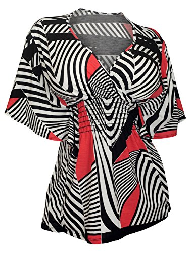 eVogues Plus Size Slimming V-neck Smocked Empire Waist Top Abstract (Abstract Design Dress)