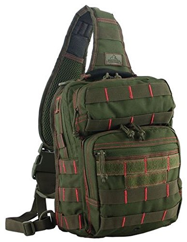 Red Rock Outdoor Gear Rover Sling Pack (Olive Drab/Red, One Size)
