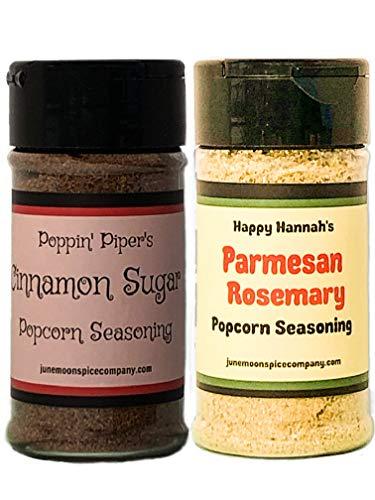 Premium   POPCORN SEASONING   Variety 2 Pack   Cinnamon Sugar Popcorn Seasoning   Parmesan Rosemary Popcorn Seasoning   3.5 fl. oz.   SIX popcorn bags INCLUDED