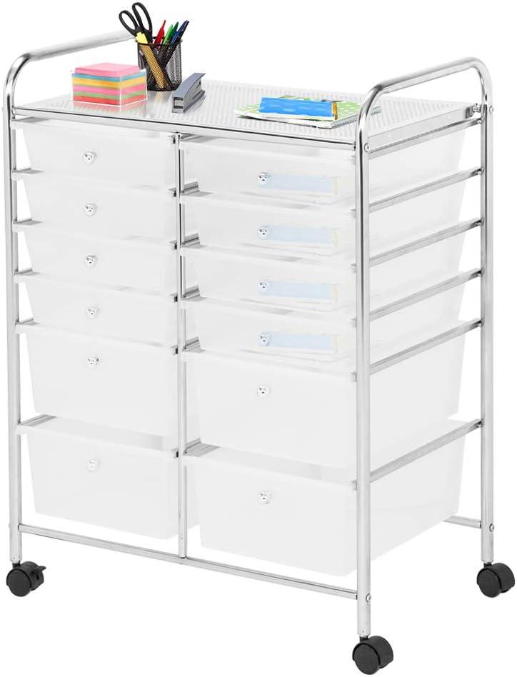 Goujxcy 6 Drawers Office Cart Storage Bin Organizer,Rolling Storage Trolley Metal Frame Plastic Drawers Flexible Wheels,Home Office Scrapbook Supply /& Paper Shelf,Multicolor