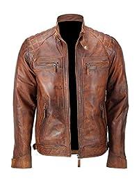Streamline choice Mens Distressed Brown Classic Diamond Leather Jacket