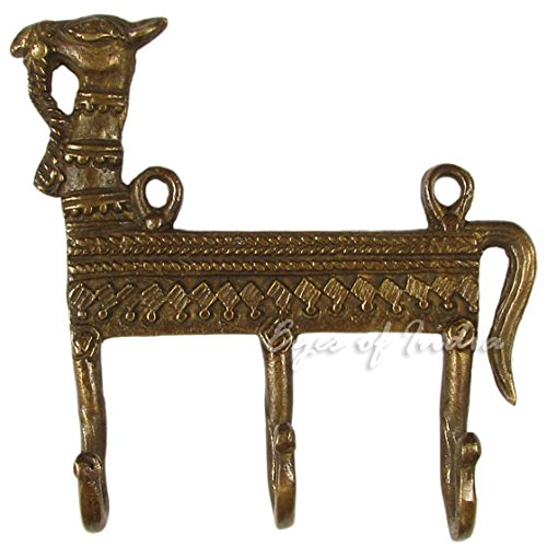Eyes of India - 5'' Brass Camel Decorative Animal Wall Hooks Hangers Coat Rack Bronze Antique Bohemian Boho Indian by Eyes of India