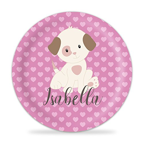 (Puppy Plate - Pink Hearts, Tan Puppy Dog Melamine Personalized Name Plate)