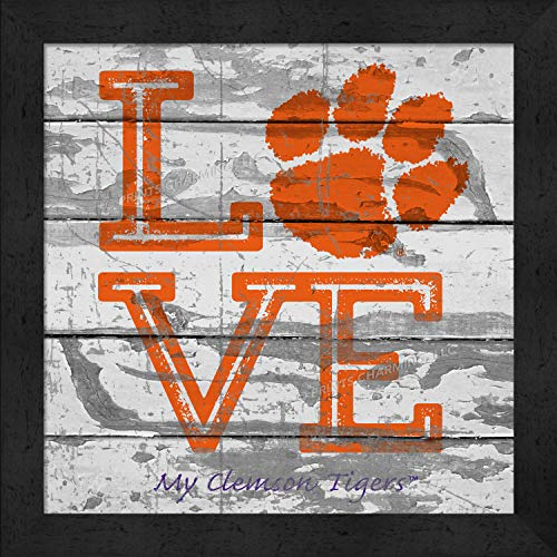 - Prints Charming College Love My Team PAW Logo Square Clemson Tigers Framed Posters 13x13 Inches