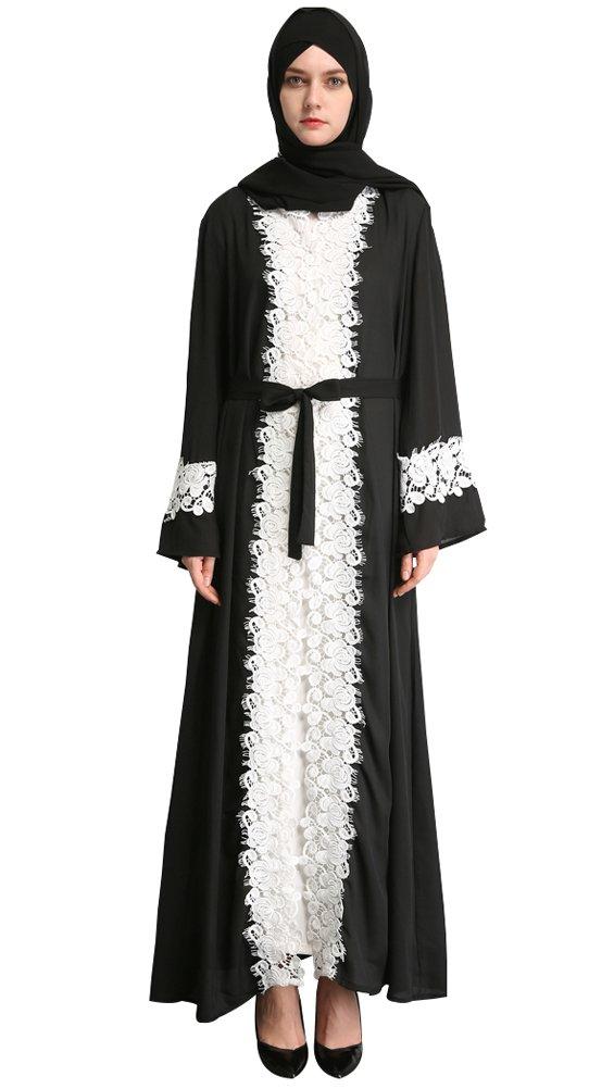 YI HENG MEI Women's Elegant Long Sleeve Muslim Maxi with White Lace Hem for Islamic Abaya,Black,L