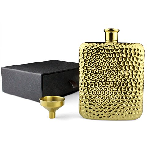 (Hoki Found Flasks for Liquor for Women and Men with Hammered Design - Gold Plated Hip Flask And Tunnel Set - Vintage Flask - 6 oz flask for liquor - Personalized Flask (Type B))