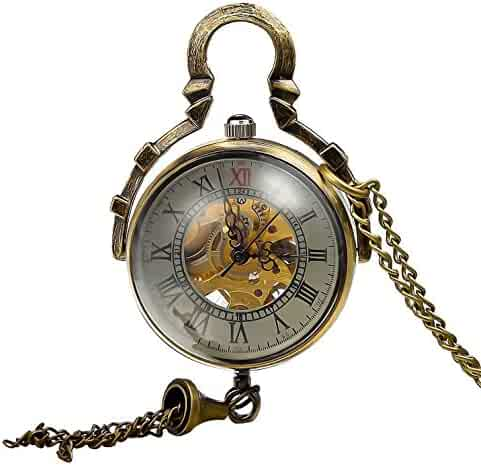 Retro Steampunk Glass Ball Transparent Skeleton Mechanical Pocket Watch with Chain CH199