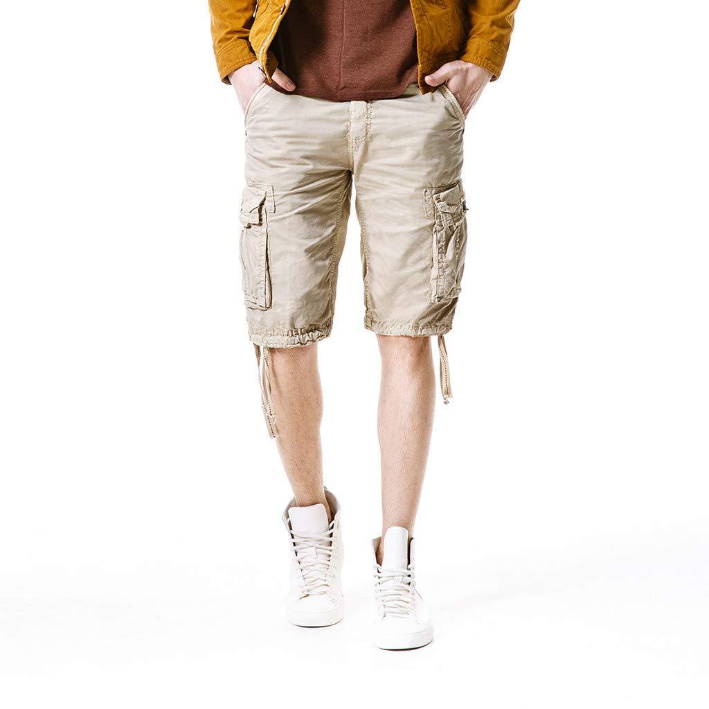 Shorts for Men F_Gotal Men's Casual Fashion Plain Button Multi-Pockets Overalls Pants Training Jogger Shorts Sweatpants Khaki