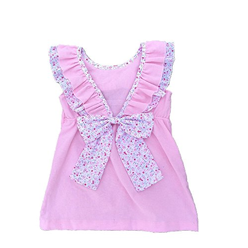 MONOBLANKS Girls Dress Backless Sash Bow Cotton Summer Skirt Can be Personalized Or Monogrammed (5/6t, Pink)]()