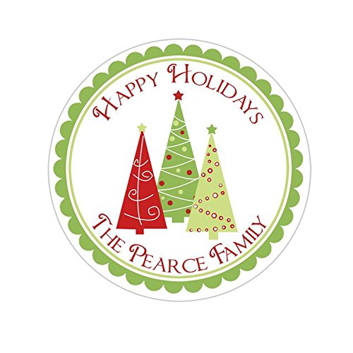 - Personalized Customized Holiday Christmas Gift Stickers - Trio of Trees - Round Labels - Choose Your Size