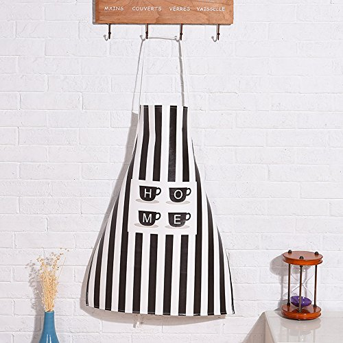 Leather Artist Apron for Women Men, Gardening Apron Waterproof Painting Apron for Painters School Students, Utility or Work Apron, 32-inch Length by 24-inch Width,Black Stripe with Cup ()