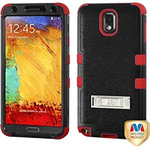 TUFF Hybrid Case with Stand for Samsung N900A Galaxy Note 3 - TUFF Hybrid Natural Black/ Red