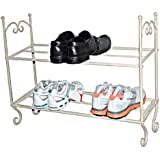 """1 X Shabby N Chic ~ Vintage CREAM 2 TIER SHOE RACK ~ French boutique style ~ WIDTH 69cm (27"""") x DEPTH 22cm (9"""") x HEIGHT 62cm (24"""")"""