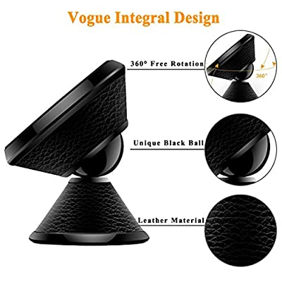 Magnetic Phone Car Mount, Magnetic Car Phone Holder Stand Dashboard Car Phone Mount, Mobile Phone Holder For Car 360 Rotation Universal Metal Phone Holder For iPhone,Samsung,GPS,Black Leather