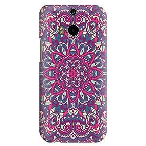 HTC ONE M8 Case,JIANSE Stylish Full Protective Slim Fit Durable Flexible Geometric Henna Arabesque Purple Mandala Floral Paisley Hard Back Cover Case Bumper for HTC ONE M8