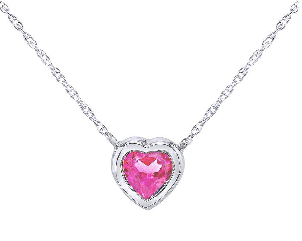 Wishrocks 14K White Gold Over Sterling Silver Heart Cut Bezel Set Solitaire Heart Pendant Necklace