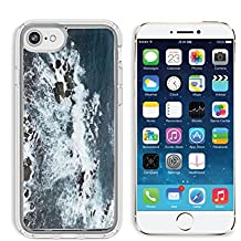 Luxlady Apple iPhone 6/6S Clear case Soft TPU Rubber Silicone Bumper Snap Cases iPhone6/6S IMAGE ID: 34355569 Waves rocks stones on the Ocean from above View from lighthouse Matara Ceylon Sri Lanka