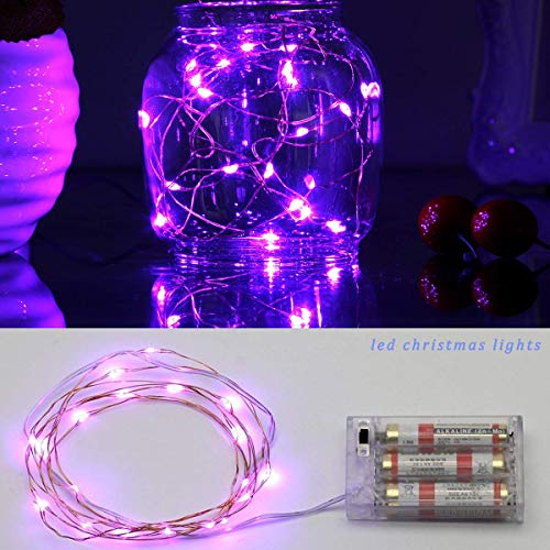 BZONE 20 LED 7 Feet Purple Color Micro LED String Lights Battery Operated Silver Color Copper Wire Lights
