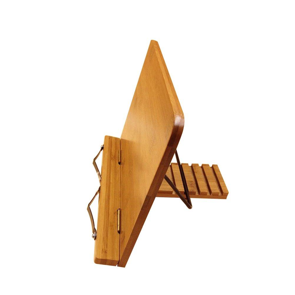 BESTONZON Soporte de de libro de bambú Soporte de de recetas de cocina Libro de lectura plegable 6a9162