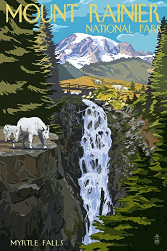 Mount Rainier National Park, Washington - Myrtle Falls and Mountain Goats (12x18 Art Print, Wall Decor Travel Poster)