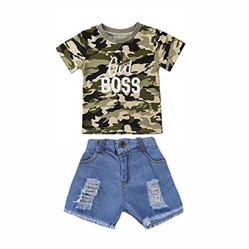 Toddler Baby Girl Boy Summer Clothes Short Sleeve Camo T-Shirt Top +Denim Cropped Pants Shorts Outfits Set (Girl boss, 5-6 Years)