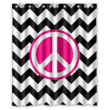 Cool Bathroom Home Decorationworld Peace Sign Shower Curtain Rings Included 100