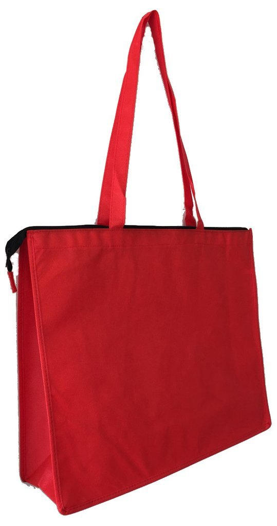 Set of 50 - Large Non-Woven Reusable Grocery Convention Promotional Tote Bags in Bulk with Top Zippered Closure-GN61 (Red) by BagzDepot