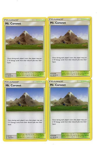MT. Coronet 130/156 - Sun Moon Ultra Prism - Trainer Card Set - x4 Stadium Card Lot (Playset)