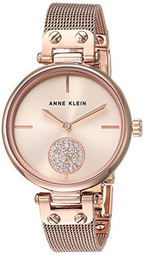 (Anne Klein Women's Swarovski Crystal Accented Rose Gold-Tone Mesh Bracelet Watch)
