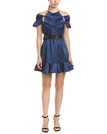 b03d1f0df1 Amazon.com: Self Portrait Womens Peplum Mini Dress, US 4 / UK 8, Blue:  Clothing