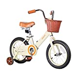 JOYSTAR 12 Inch Kids Bike for 2 3 4 Years Old Girls, Vintage Kids Bicycle with Front Basket & Training Wheels for 2-4 Years Child, Beige