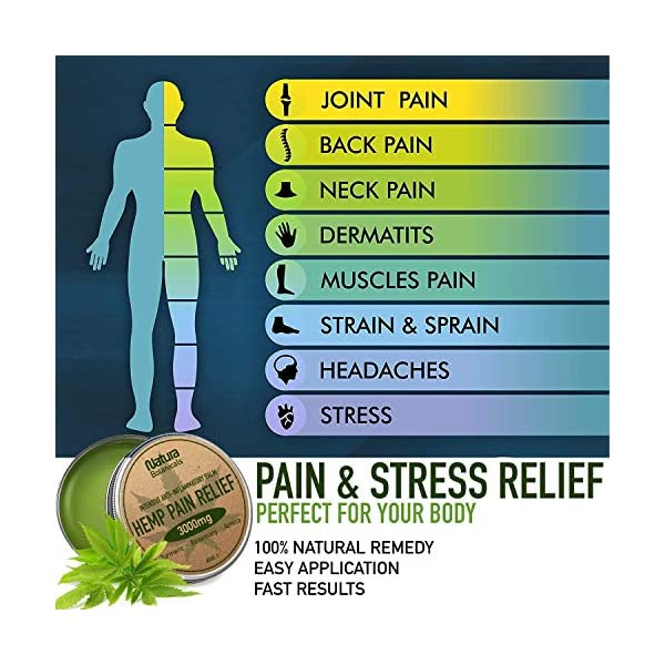 Hemp Pain Relief Balm – Premium Natural Pain Relief, 3000mg Hemp, Rosemary, Turmeric & Arnica Extracts, Anti-Inflammatory for Joints & Muscles, Arthritis Pain, Fast Acting Hemp Salve, 60ml