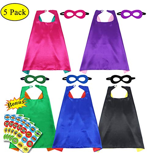 Children's Superhero Capes and Masks Party Costumes Set Dual Color for Boys Girls' Role Cosplay Fancy Dress(5 Pack) (5 -