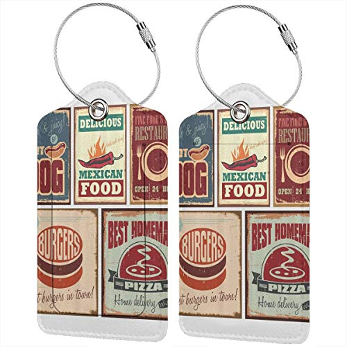(QDLDQ 1950S Nostalgic Tin Signs Retro Mexican Food Leather Luggage Tags Etag for Suitcases Travel Name ID Identification Labels Set for Bags with Full Back Privacy Cover and Steel Loop)