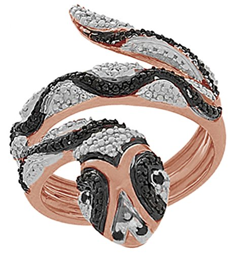 Black & White Natural Diamond Engagement and Wedding Accent Snake Ring in 14k Rose Gold Over Sterling Silver (0.07 Ct) (White Black Snake Ring)